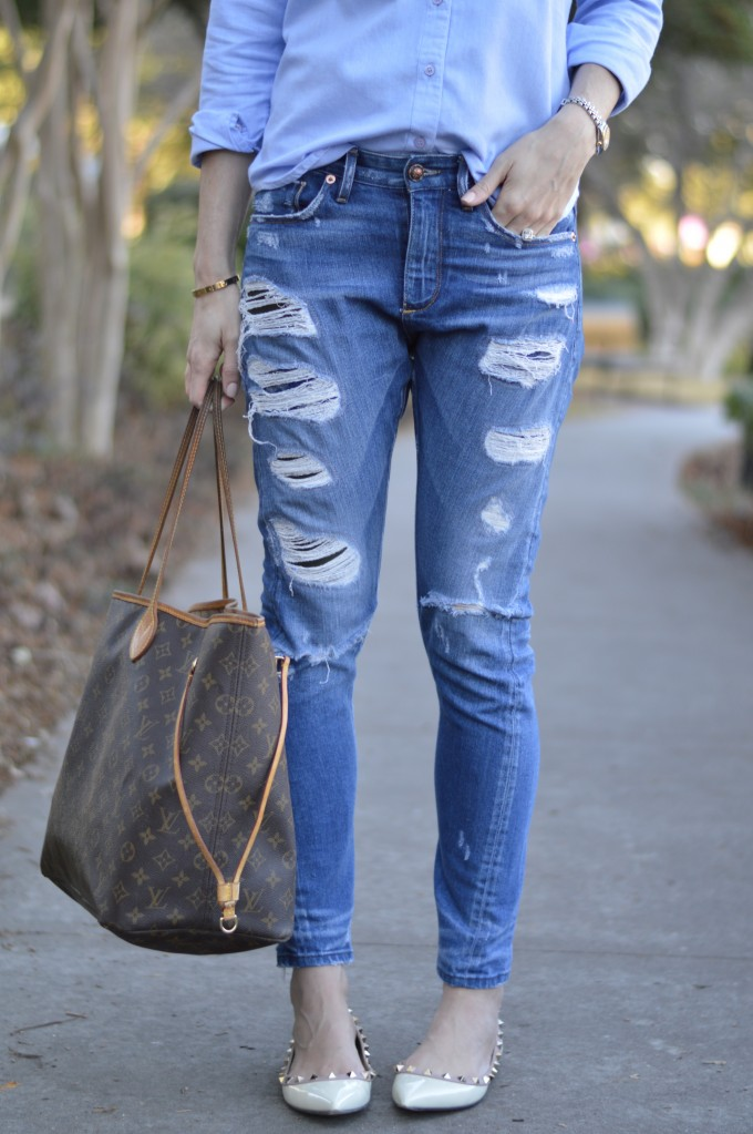 distressed boyfriend jeans, casual mom style, designer diaper bag