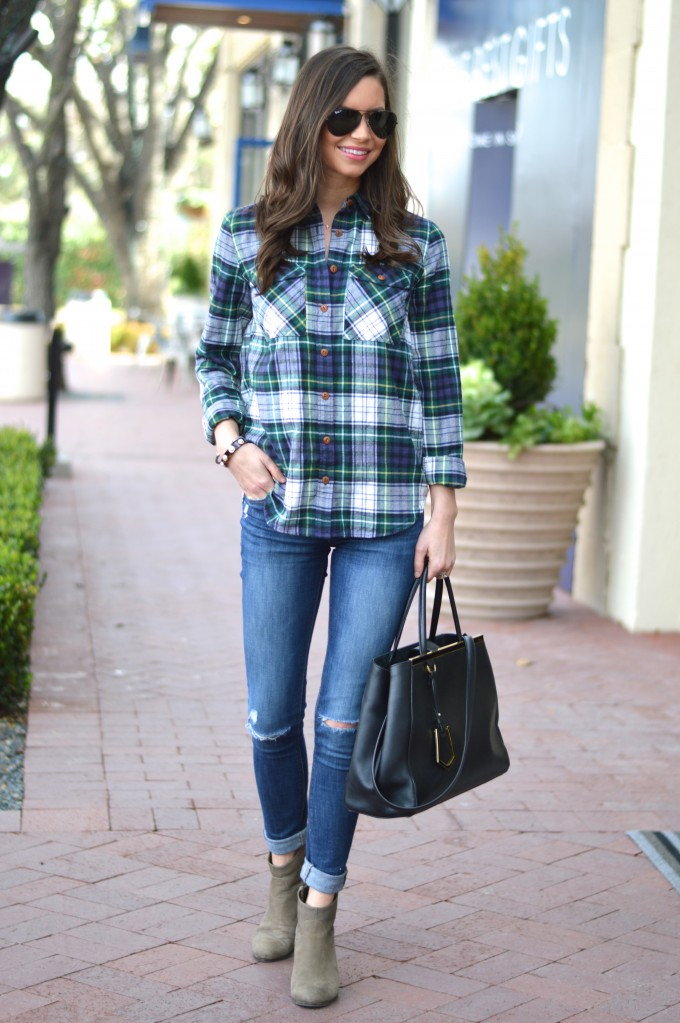 plaid boyfriend shirt, casual weekend wear, olive green booties