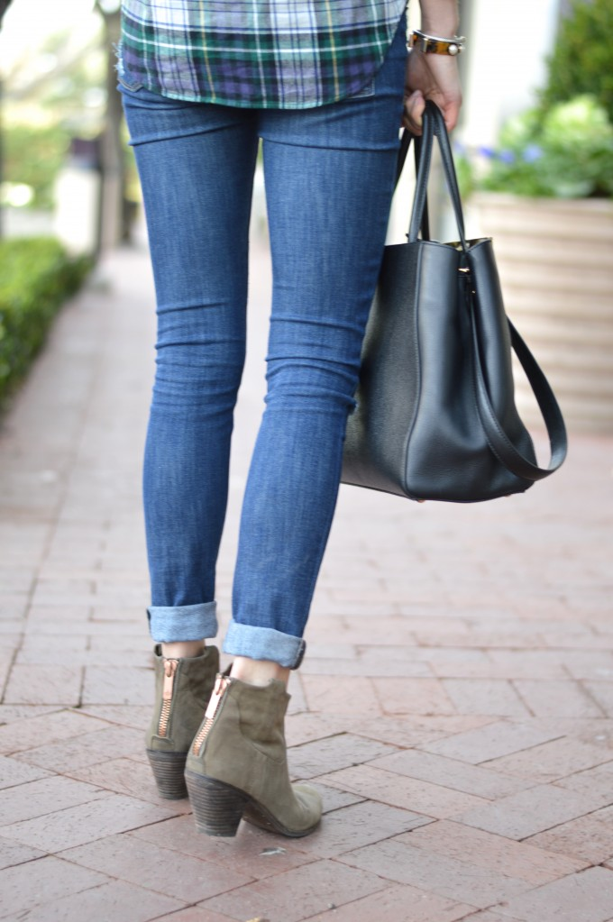 olive green booties, distressed jeans