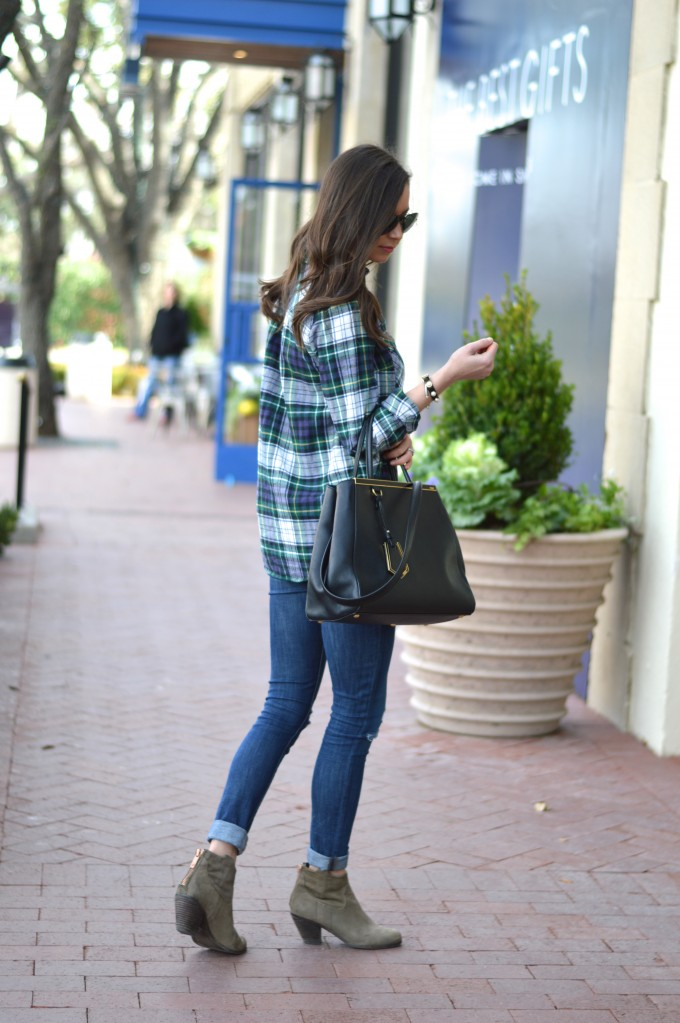 plaid boyfriend shirt, distressed jeans, statement handbag, casual style