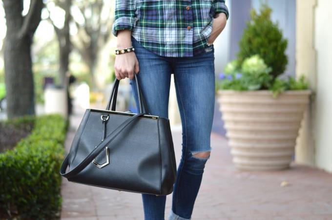 distressed jeans, black fendi 2Jours bag, plaid button up shirt