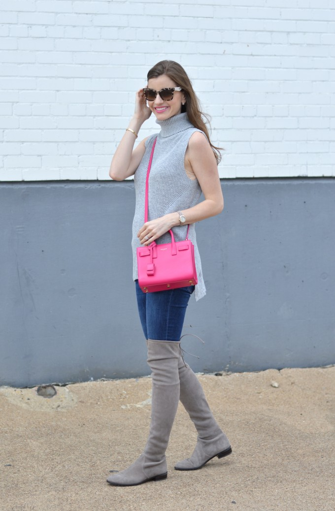 sleeveless sweater, over the knee boots, otk boots, hot pink cross body bag, spring transition dressing