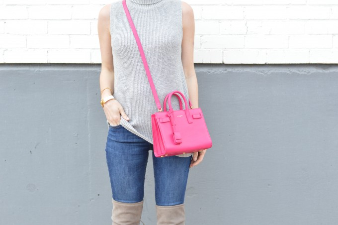 hot pink cross body bag, gray sleeveless sweater