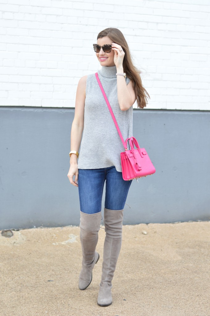 sleeveless turtleneck sweater, spring transitional style