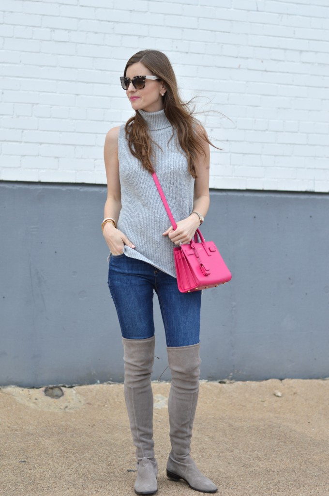 sleeveless sweater, spring transitional outfit, hot pink cross body bag