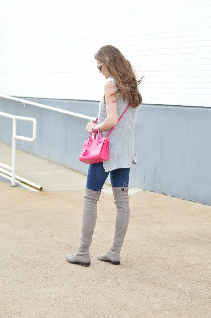 hot pink cross body bag, gray suede over the knee boots