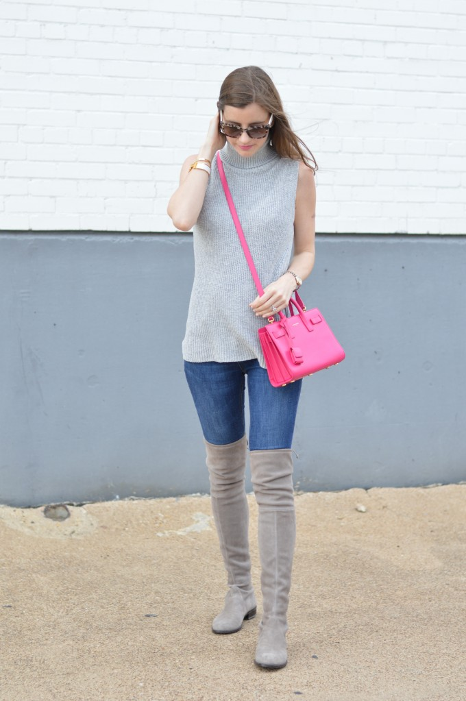 hot pink cross body bag, over the knee boots, gray suede over the knee boots