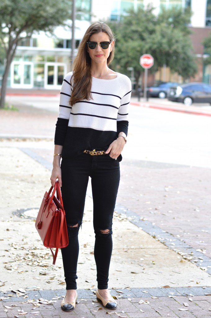 spring sweater, dressing to transition to spring, striped sweater