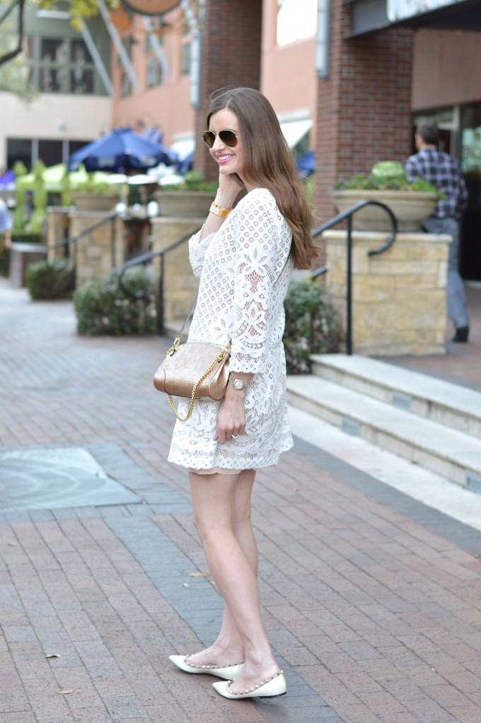 rockstud flats, white lace dress, spring trends lace