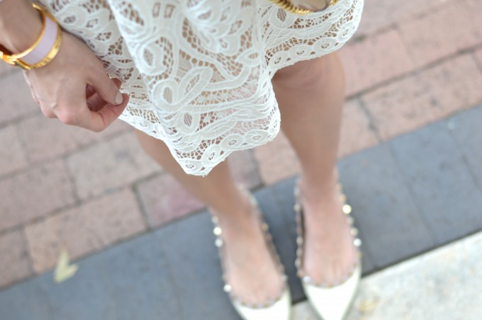 white lace dress, valentino rockstud flats