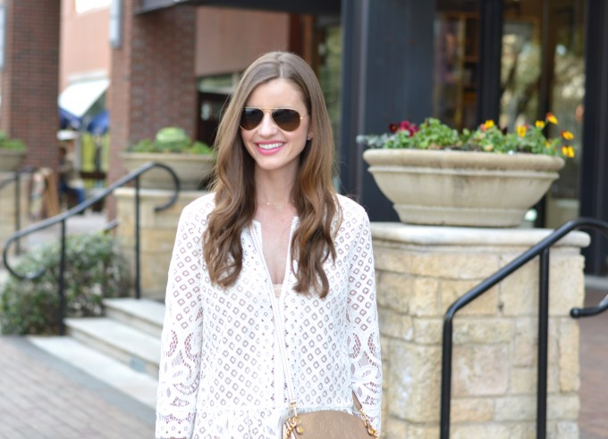 spring trend lace, gold cross body bag