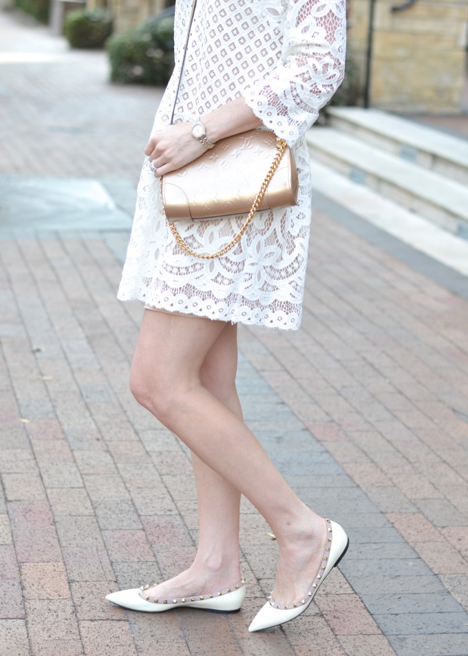 cream valentino rockstuds, white lace dress, lace for spring