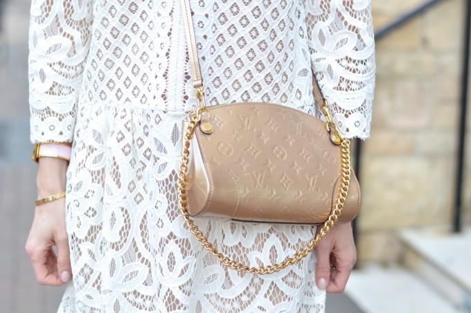 louis vuitton gold cross body bag, white lace dress