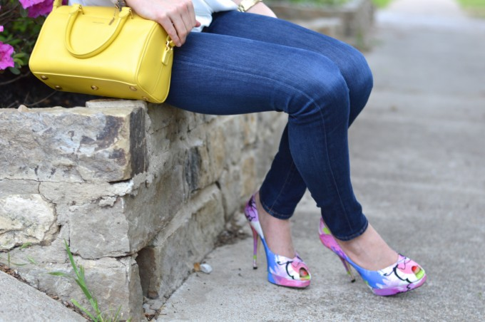 yellow cross body bag, floral pumps
