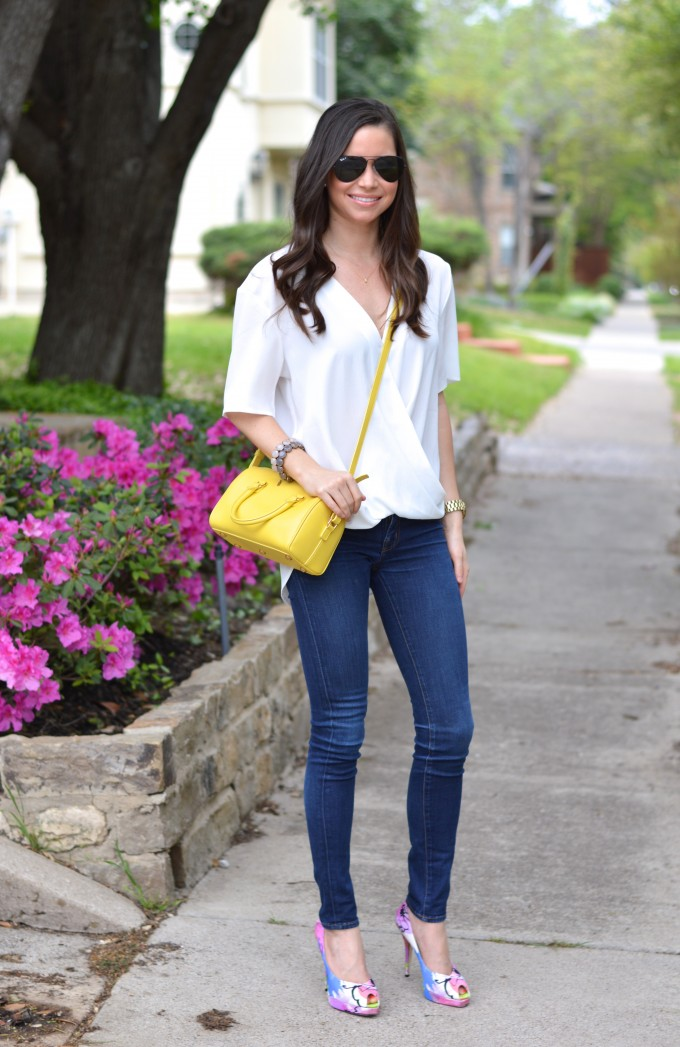floral for spring, date night look, yellow cross body bag