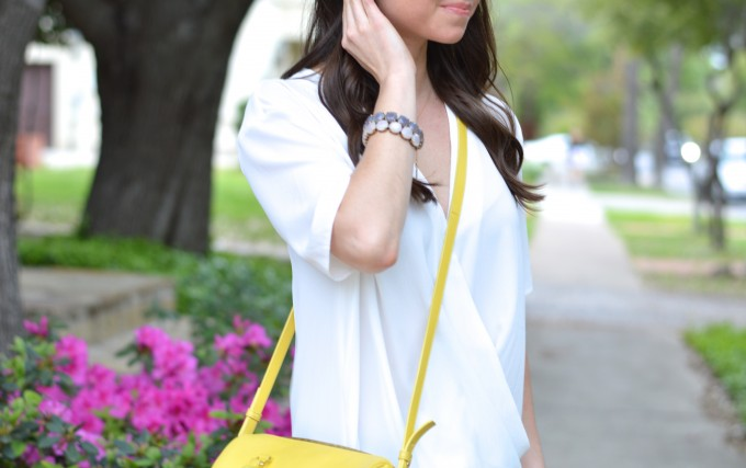 floral for spring, stacked bracelets, yellow cross body bag