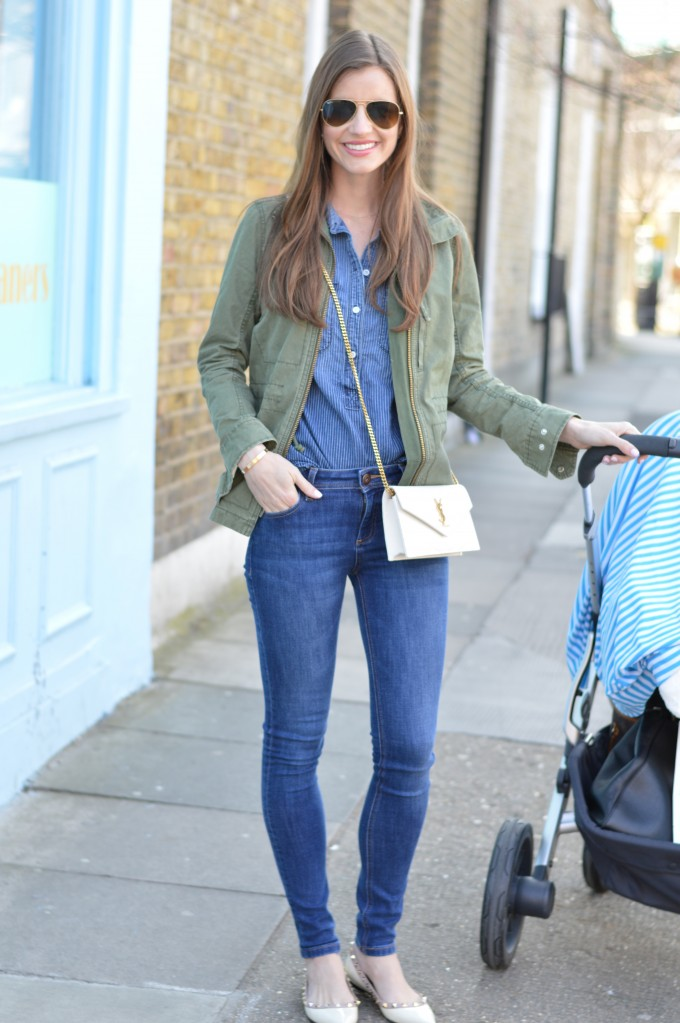 mom style, army green military jacket