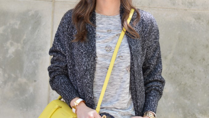 yellow cross body bag, gray embellished tee