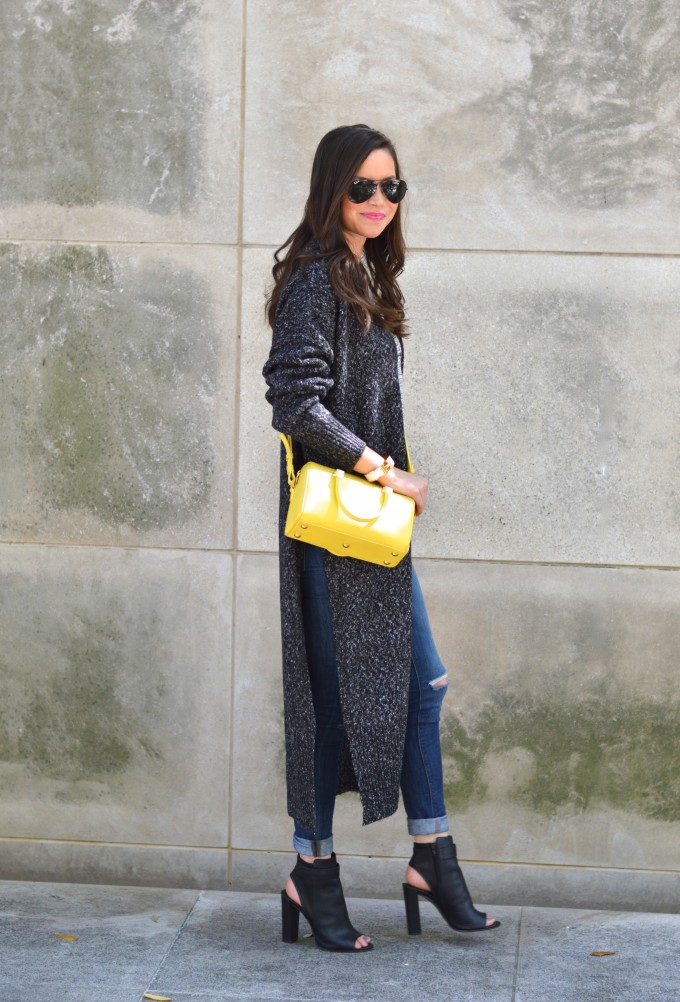 yellow cross body bag, long cardigan for spring, booties for spring