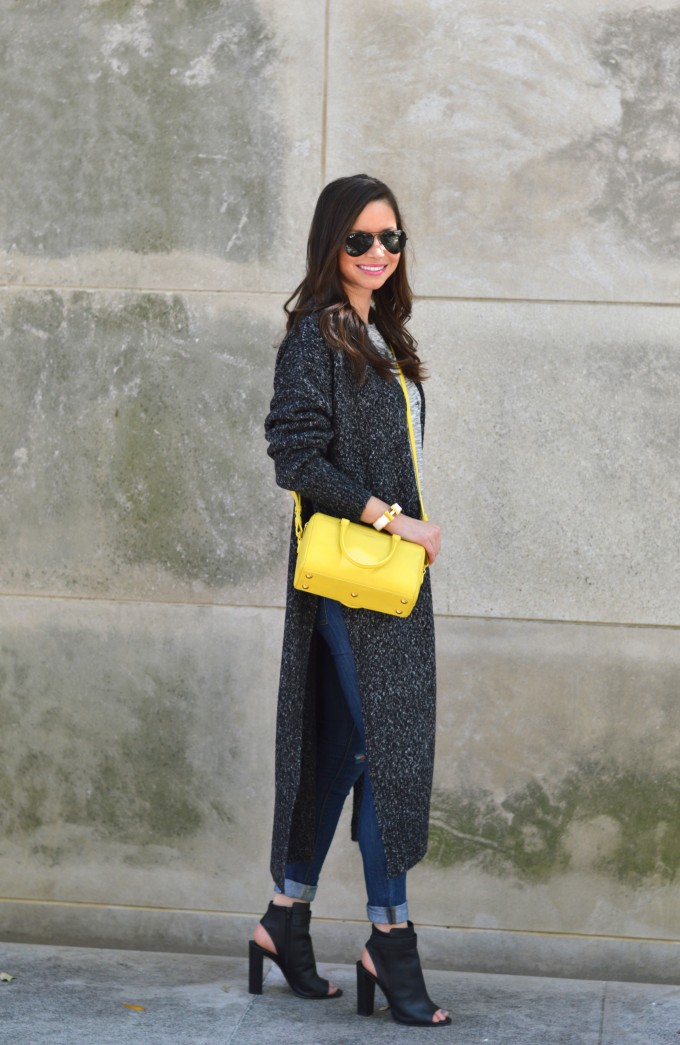 yellow cross body bag, long cardigan