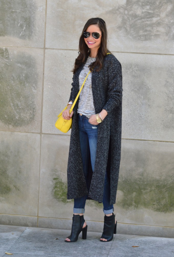 long cardigan, spring sweater, embellished gray t-shirt