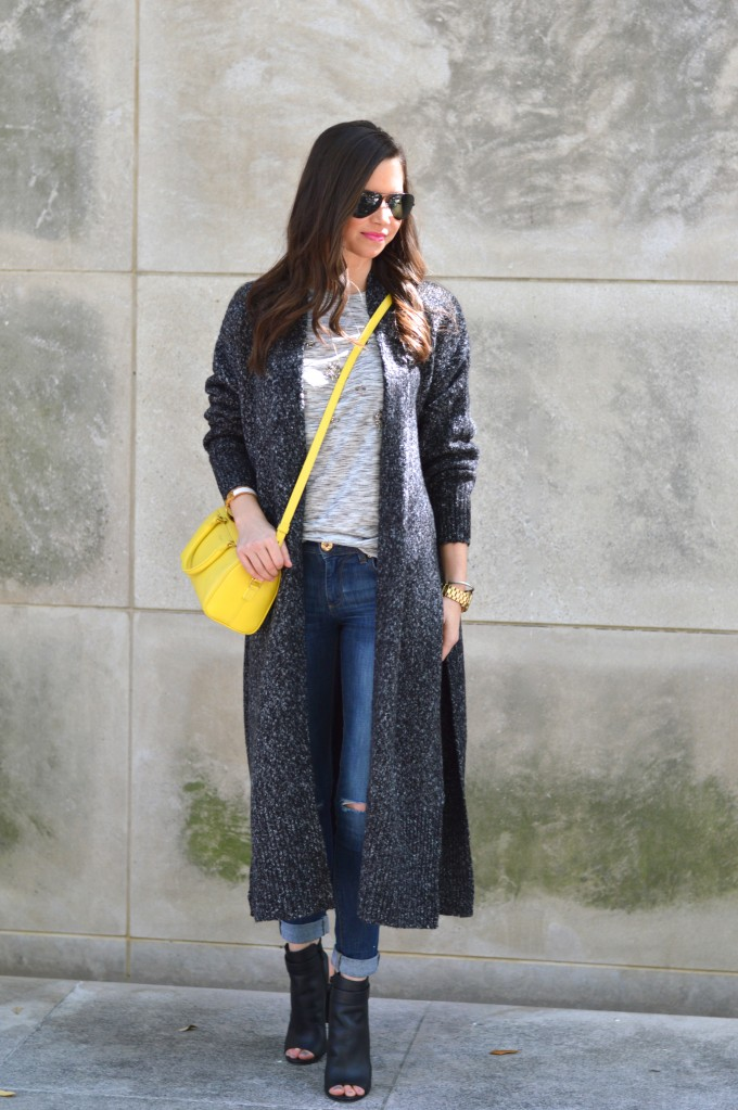 long cardigan, spring transition dressing, booties for spring