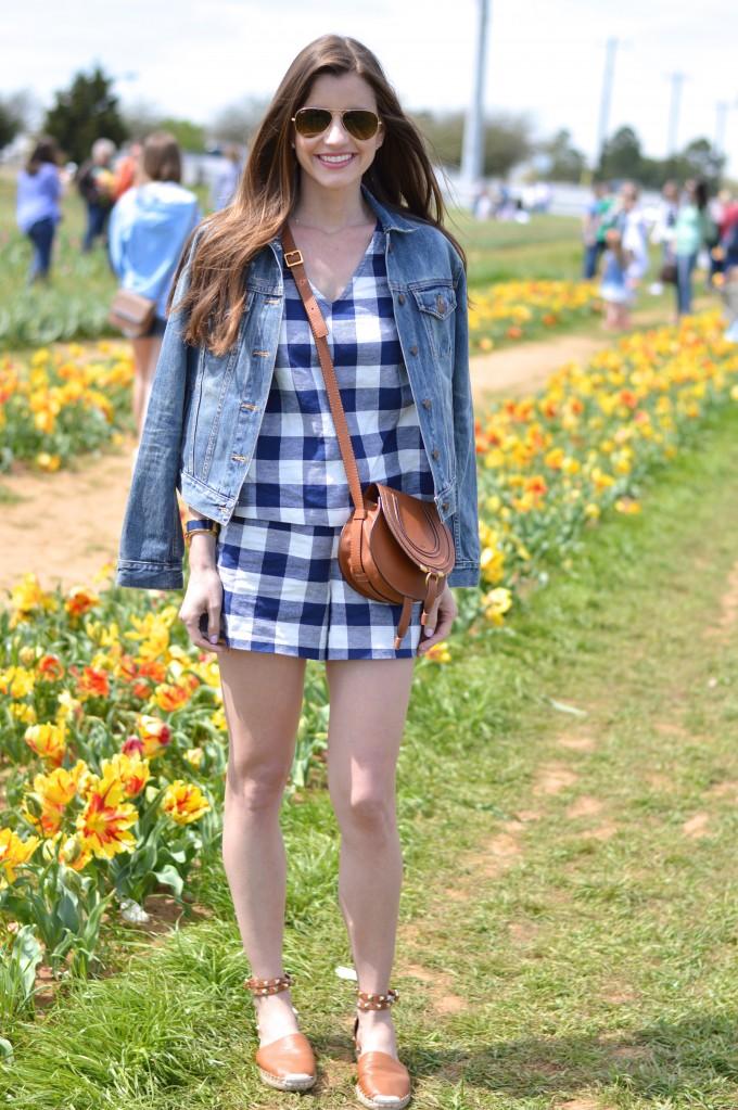 blue and white gingham short set, spring flowers, tulip farm