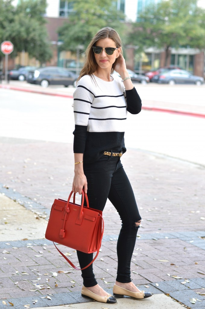 transitioing to spring dressing, striped spring sweater, spring sweater