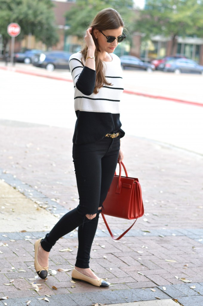 spring sweater, transitioning to spring, red saint laurent hand bag