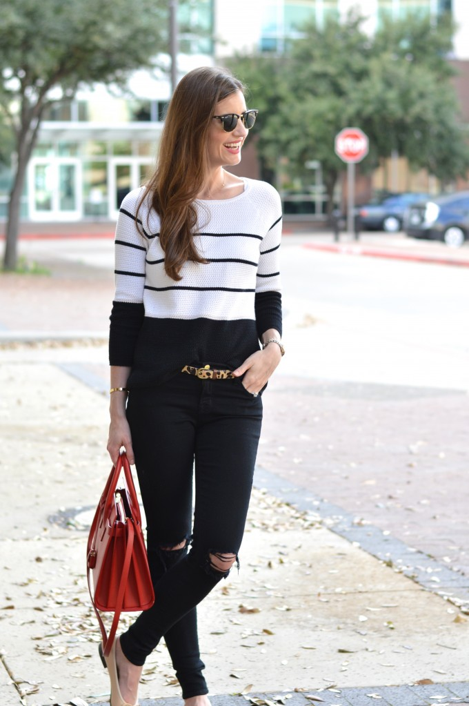 what to wear to transition to spring, striped sweater, spring transitional style