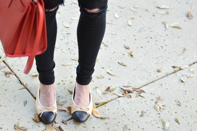 chanel flats, black distressed jeans