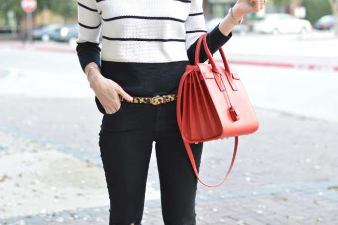spring sweater, leopard print belt, red handbag