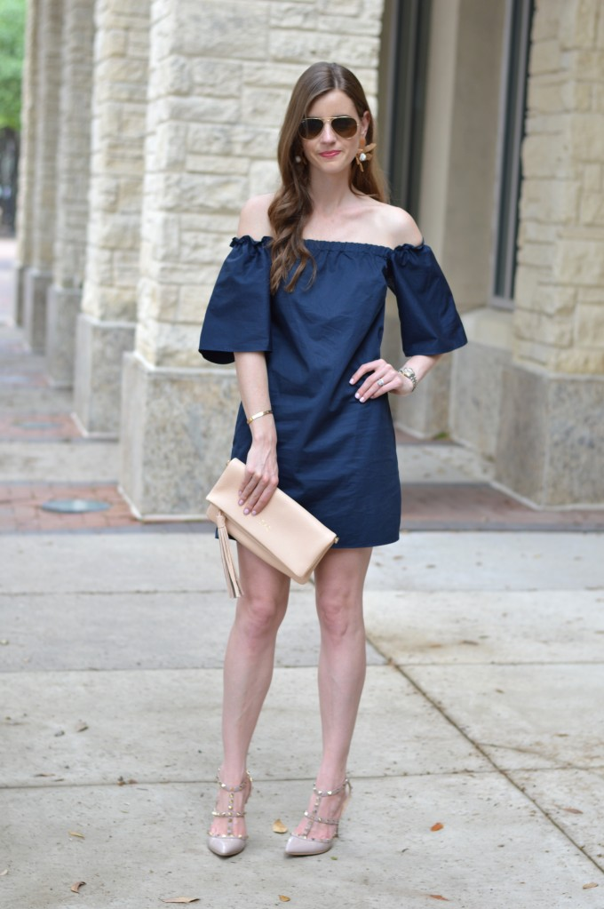 off the shoulder dress, garden party style, nude clutch, blush pink rock studs