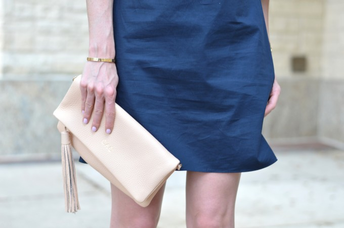 nude clutch, monogrammed clutch