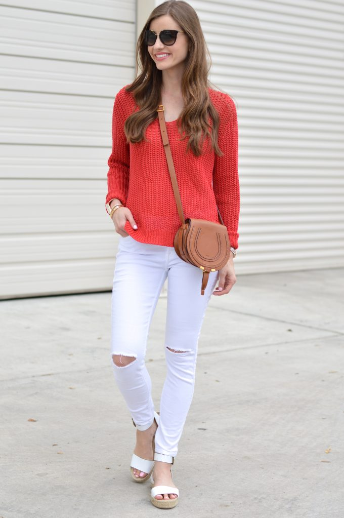 red sweater, linen sweater, white distressed jeans, chloe cross body bag