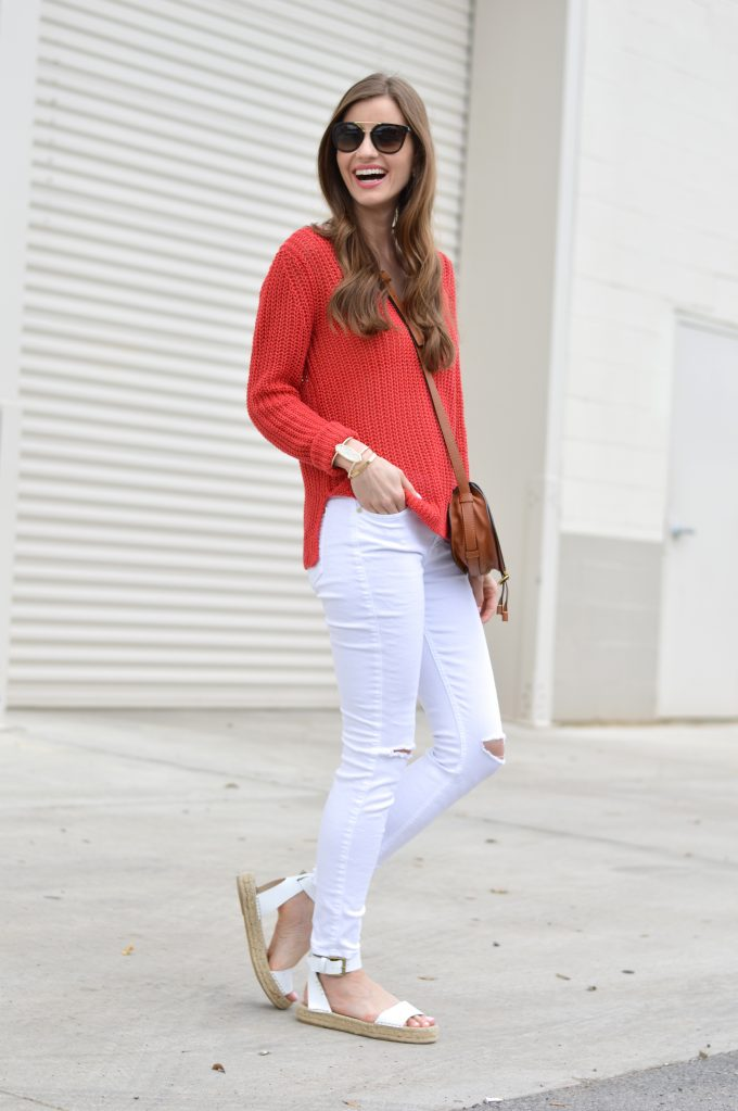 red sweater, linen sweater, white distressed jeans, white platform sandals