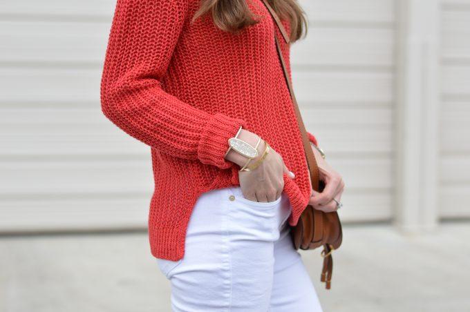 statement bracelet, red sweater for summer, linen sweater