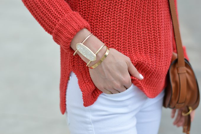 statement bracelet, red sweater