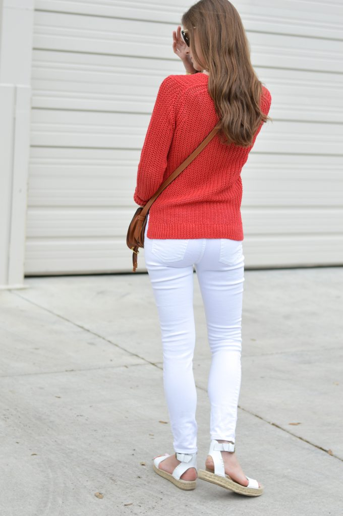red linen sweater, white distressed jean, white platform sandals