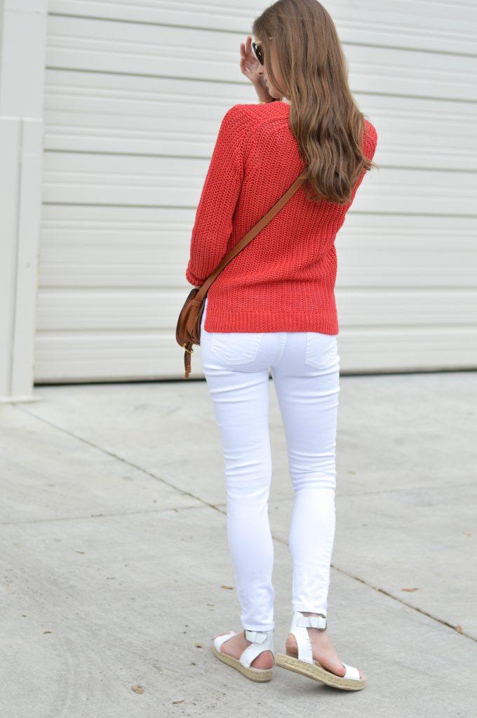 red linen sweater, white distressed jean, white platform sandals