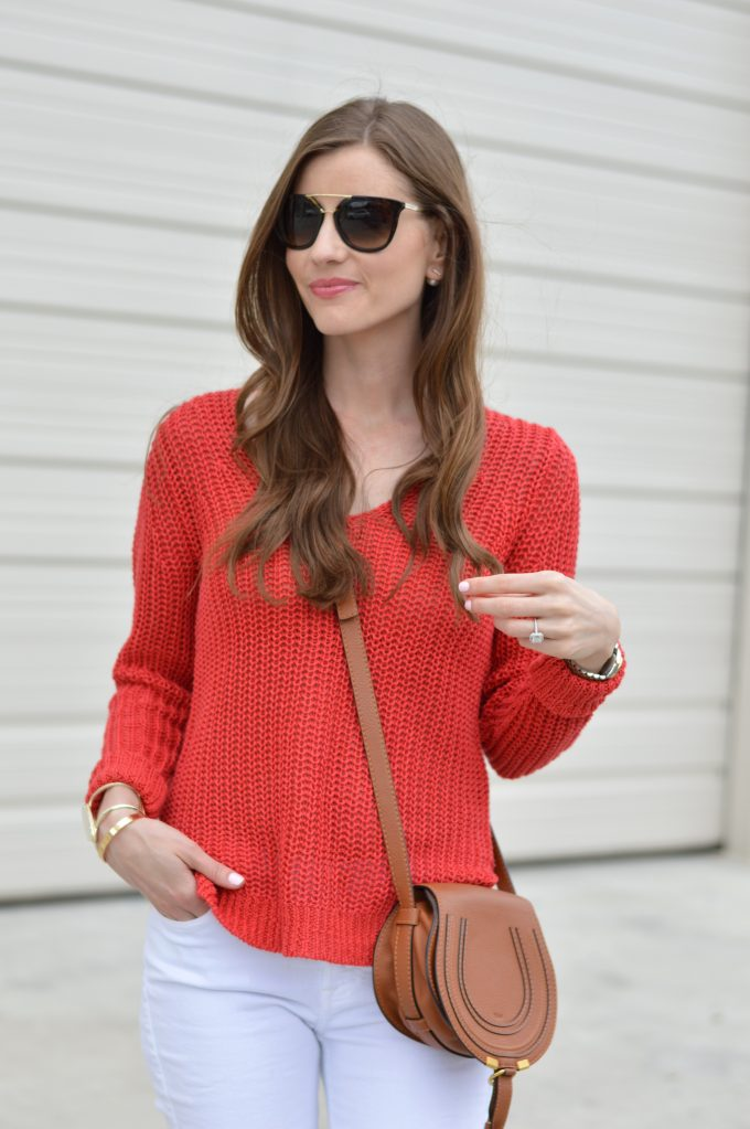 red sweater, chloecrossbody bag