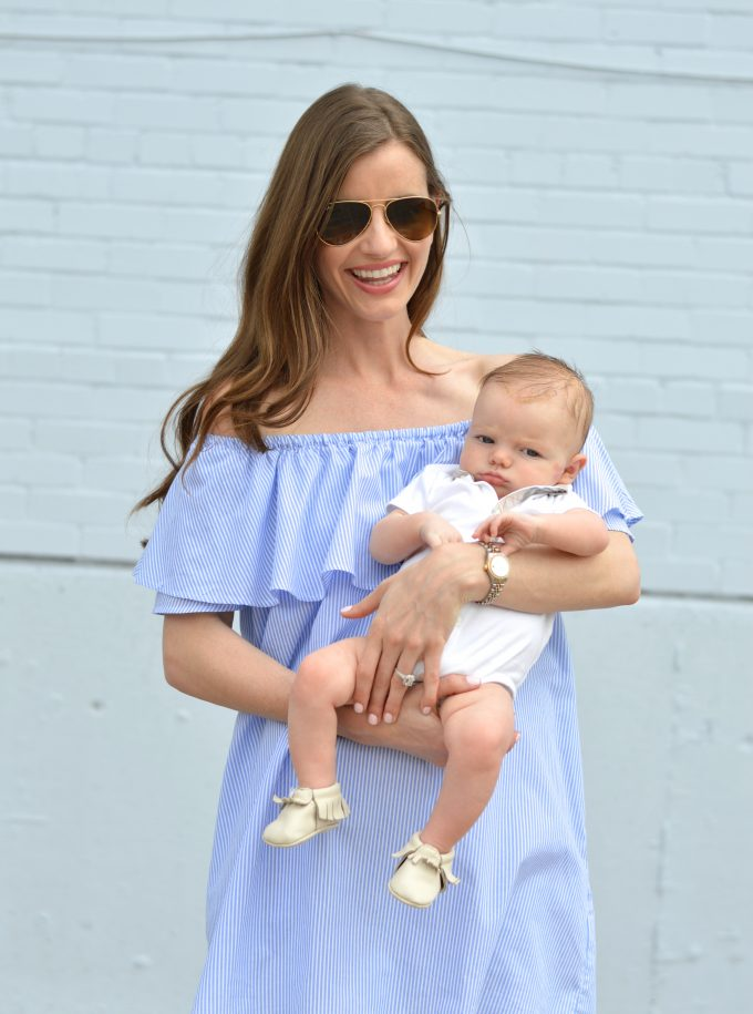 blue and white stripe off the shoulder dress, freshly picked moccasins, burberry for baby
