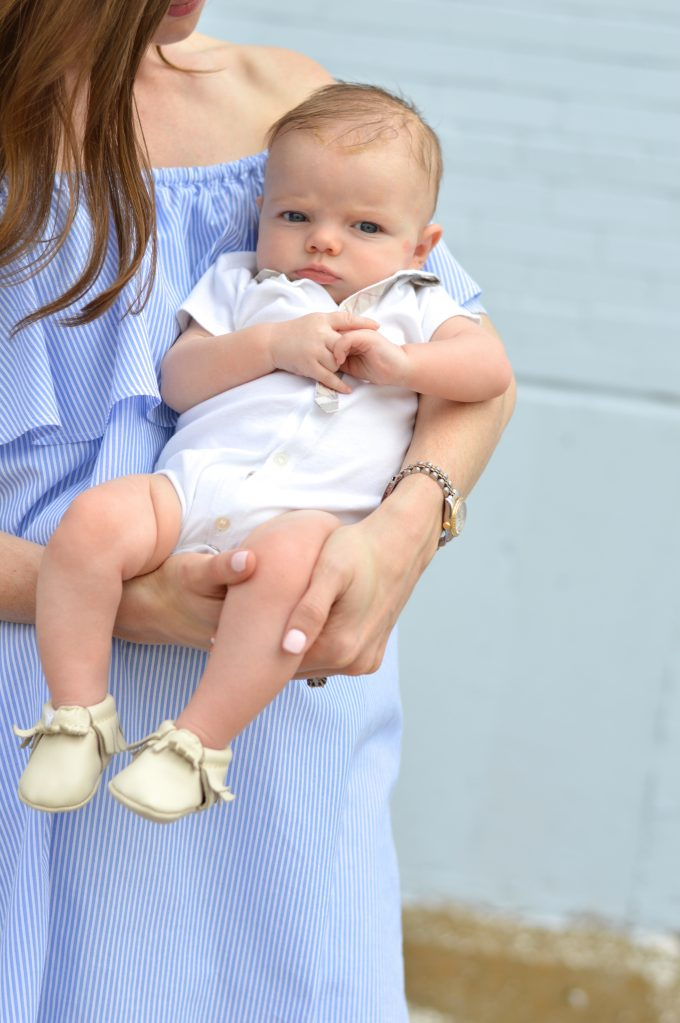 freshly picked baby moccasins, burberry for baby, blue and white off the shoulder dress