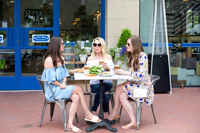 mother daughter time, family business, chambray off the shoulder dress, white off the shoulder top, floral boho dress,
