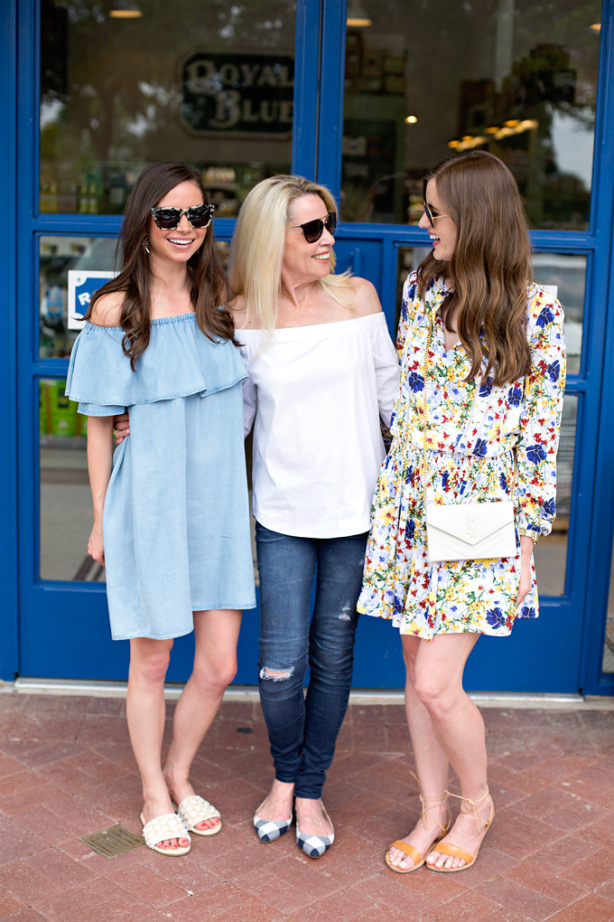 off the shoulder chambray dress, white off the shoulder top, floral boho dress