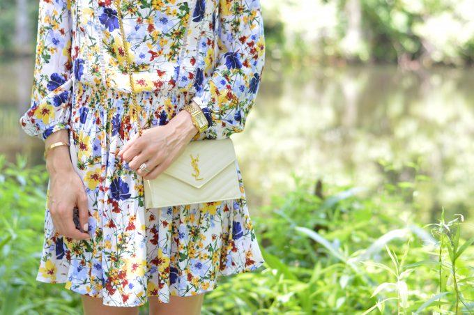 Middleton Place, floral long sleeve dress, white cross body bag