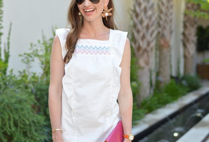 shoshanna summer dress, white dress with embroidery, summer style, statement earrings, hot pink clutch