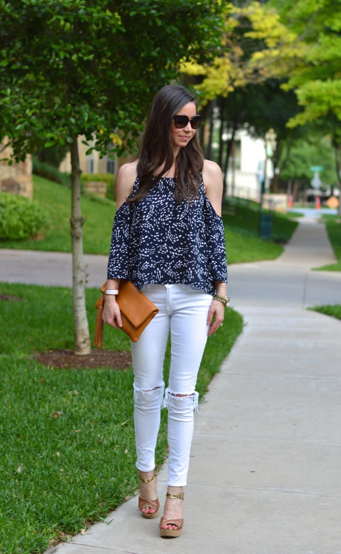 cold shoulder top, luggage wedges, cork wedges, cognac foldover clutch, distressed white jeans