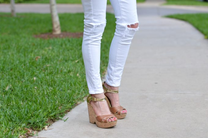 distressed white jeans, luggage wedges, cork wedges