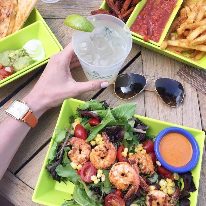 fresh salad for summer lunch, grilled shrimp salad
